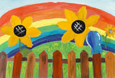Rustic fence and sunflowers on a background of the rainbow. Chil — Stock Photo