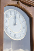 Antique clock with reflection of sky — Stock Photo