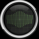 Signal with amplitude modulation on the oscilloscope screen in g — Stock Photo