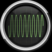 Sine signal on the oscilloscope screen in green tones — Stock Photo