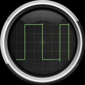 Rectangular signal on the oscilloscope screen in green tones — Stock Photo