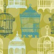 Seamless pattern with vintage birdcages — Stock Vector