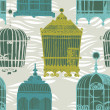 Stock Vector: Pattern with vintage birdcages