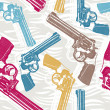 Seamless pattern with handguns — Stock Vector