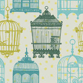 Pattern with vintage birdcages — Stock Vector
