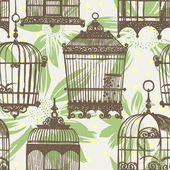 Pattern with vintage birdcages and flowers — Stock Vector