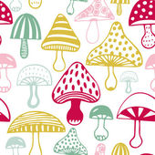 Pattern with decorative mushrooms — Stock Vector