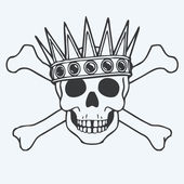 Skulls, bones and crowns — Stok Vektör