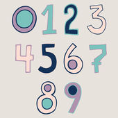 Hand written numbers set — Stock Vector