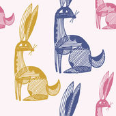 Vector seamless pattern with rabbits — Stock Vector