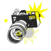 Vector hand drawn photo camera — Stock Vector