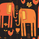 Pattern with elephants — Vettoriale Stock