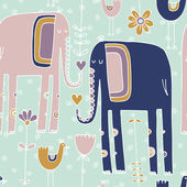 Pattern with elephant, flowers and bird — Stock Vector