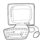 Computer in doodle style — Stock Vector