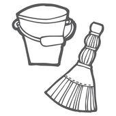 Bucket and broom — Stock Vector
