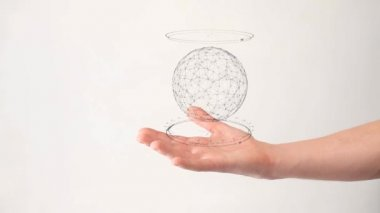 Future ball sphere rotatin in hand — Stock Video
