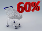 Shopping cart and 60 percent — Stock Photo