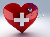 Estetoscopio y corazón rojo — Foto de Stock