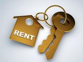 Key with rent house — Stok fotoğraf