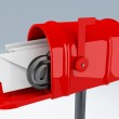 Red mail box with heap of letters — Stock Photo