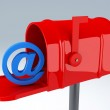 Red mail box with at sign. email concept — Stock Photo