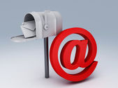 White mail box with heap of letters and AT symbol — Stock Photo