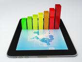 Tablet pc y negocio gráfico en la pantalla — Foto de Stock