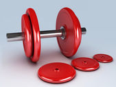 Red dumbbells for fitness — Stock Photo
