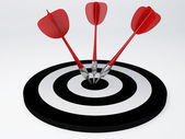 Darts hit target. isolated white — Foto Stock