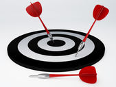 Darts hit target. isolated white — Stock Photo