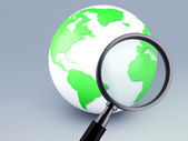 Green world and a magnifying glass 3d  — Stock Photo