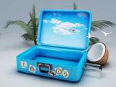 Travel suitcase. beach vacation — Stock Photo