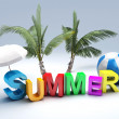 Word summer with colourful letter 3D Illustration — Foto Stock