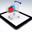 Shopping Cart over Tablet PC. E-commerce Concept. — Stock Photo #49081349