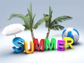 Word summer with colourful letter 3D Illustration   — Stock Photo