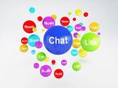 Bubble application icons. Social network  concept. — Stock Photo
