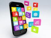 3d mobile phone app wifi — Stock Photo
