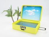 Travel suitcase. beach vacation. isolated white — Stock Photo