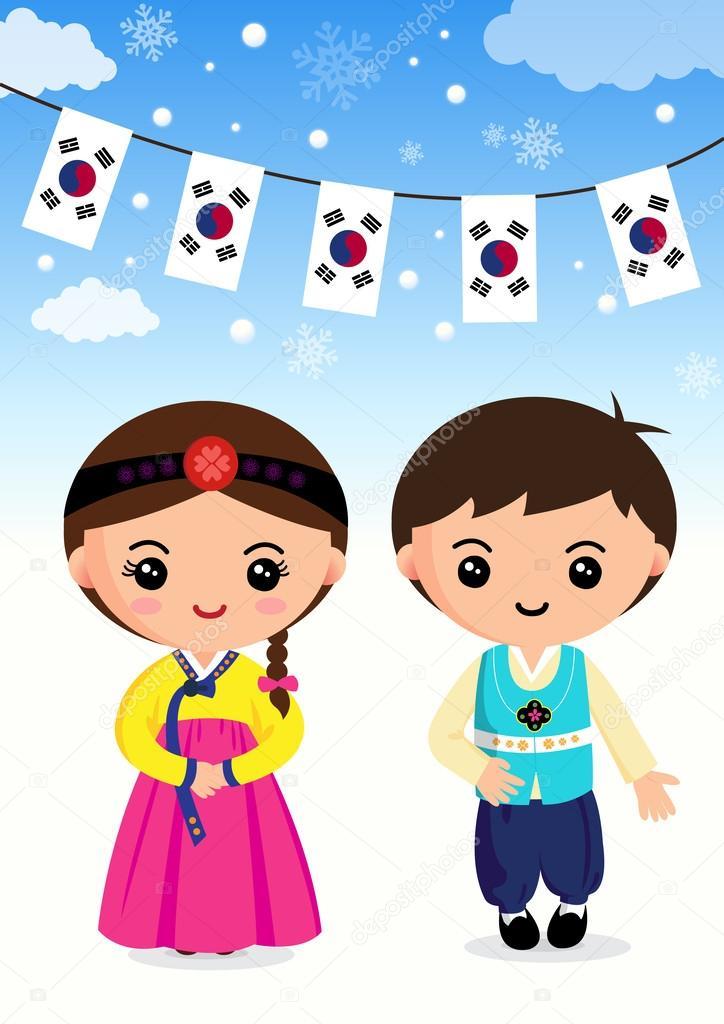 Korean traditional costume Boys and girls, cartoon, asian — Stock