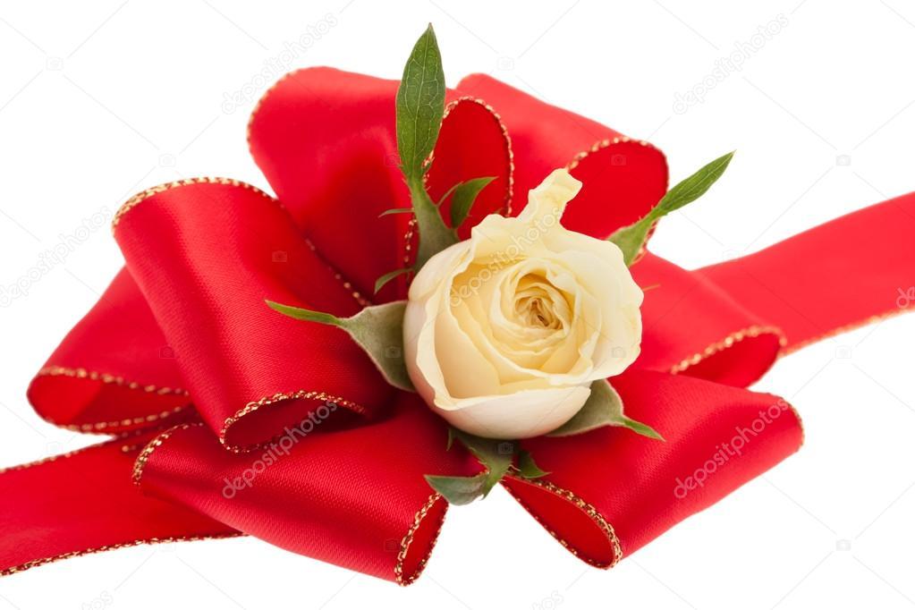 在白色背景前的玫瑰红色礼品蝴蝶结– 图库图片