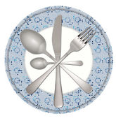 Fork knife and spoon on a plate — Stock Photo