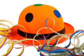 Orange Carnival hat with streamers — Stock Photo