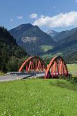 Bridge with mountains — Stock Photo