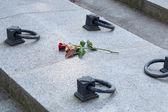 Lápida con sola rosa — Foto de Stock