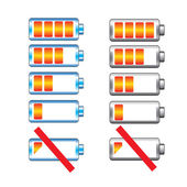 Battery charge showing stages vector set — Vettoriale Stock