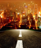 Road to the night city — Stock Photo