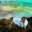 Stock Photo: Pre wedding couple at sea coast