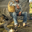 Senior farmer holding a basket and resting — Stock Photo #40498727