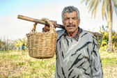 Senior farmer holding a fork and a straw basket — Stock Photo