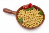 Close up of chickpeas and tomatoes — Stock Photo